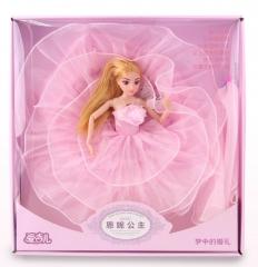 儿童玩具芭比娃娃系列  3D真眼9关节可活动实身芭芘娃带IC灯光音乐中裙婚纱系列4色混装